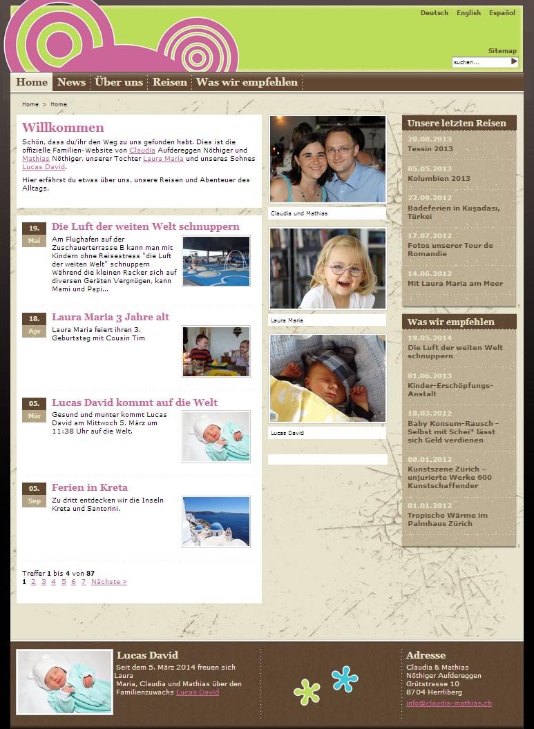 So sah die Website claudia-mathias.ch von Mai 2010 bis August 2014 aus